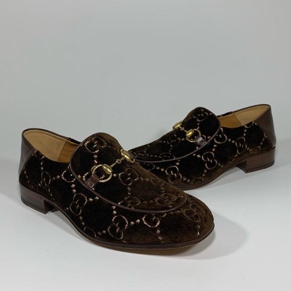 b8ccbb669ca Gucci GG Velvet Horsebit Loafers-Collapsible Heel